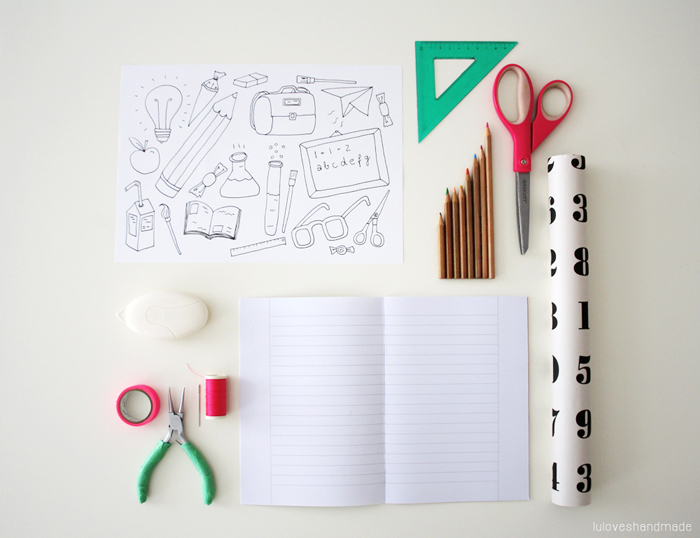 How To Make A Book Cover Out Of Construction Paper ~ Diy free printable notebook and illustration for school