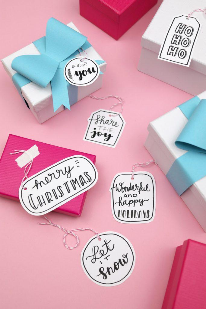 Free Handlettering Printable for Christmas Gift Tags