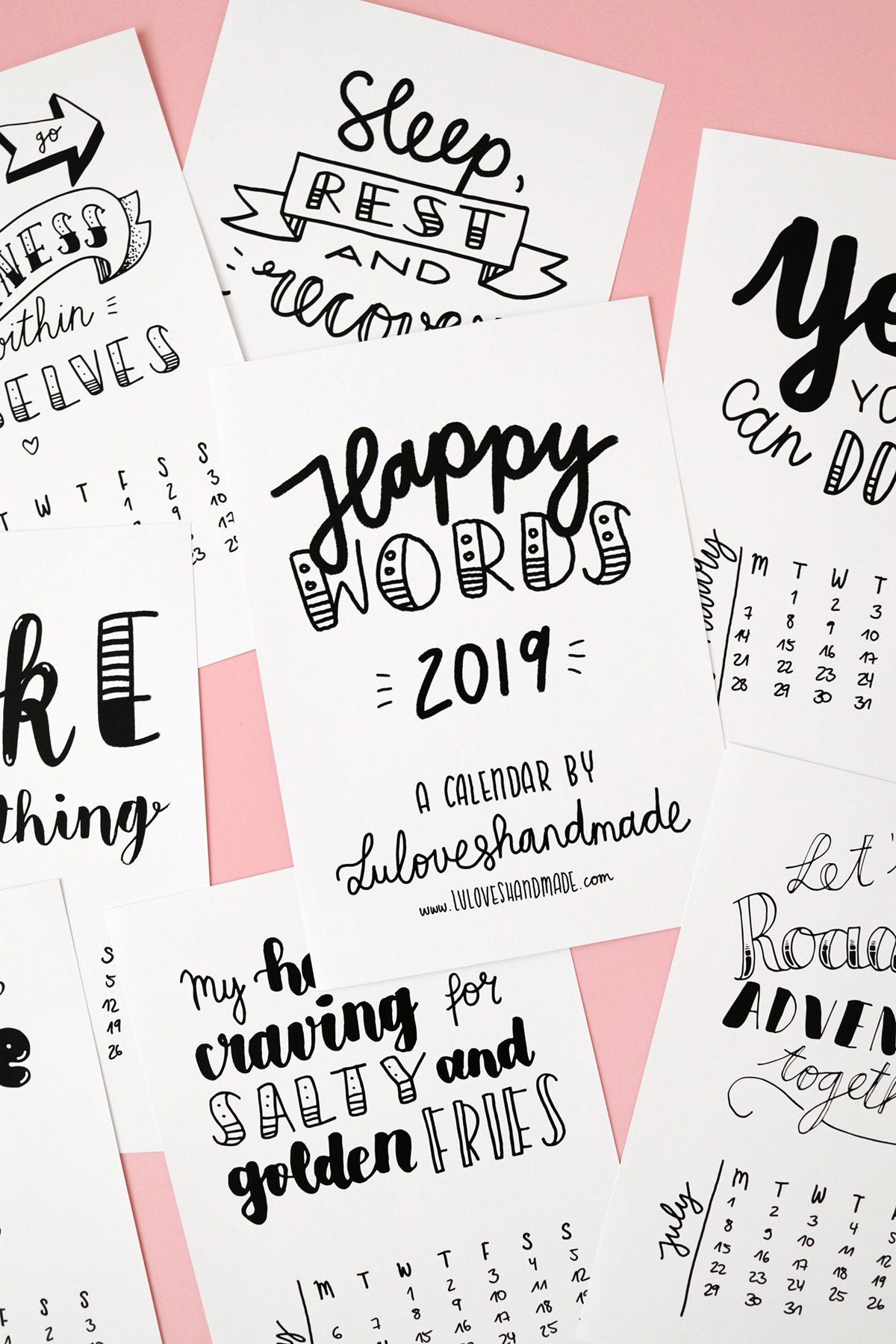 Free Printable: Handlettering Calendar 2019 - Luloveshandmade
