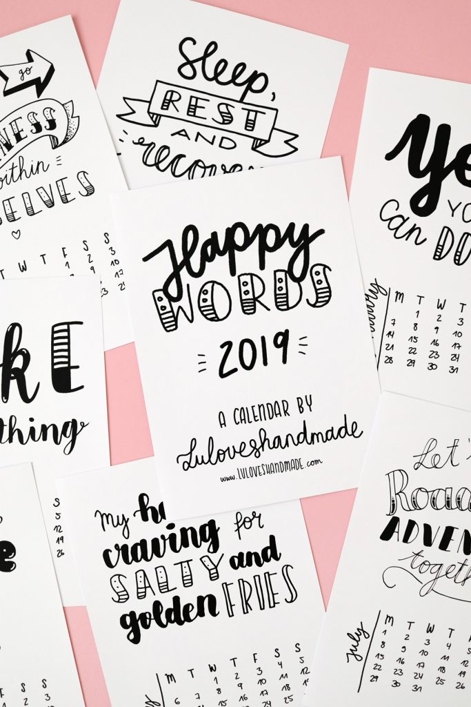 Free Printable: Handlettering Calendar 2019