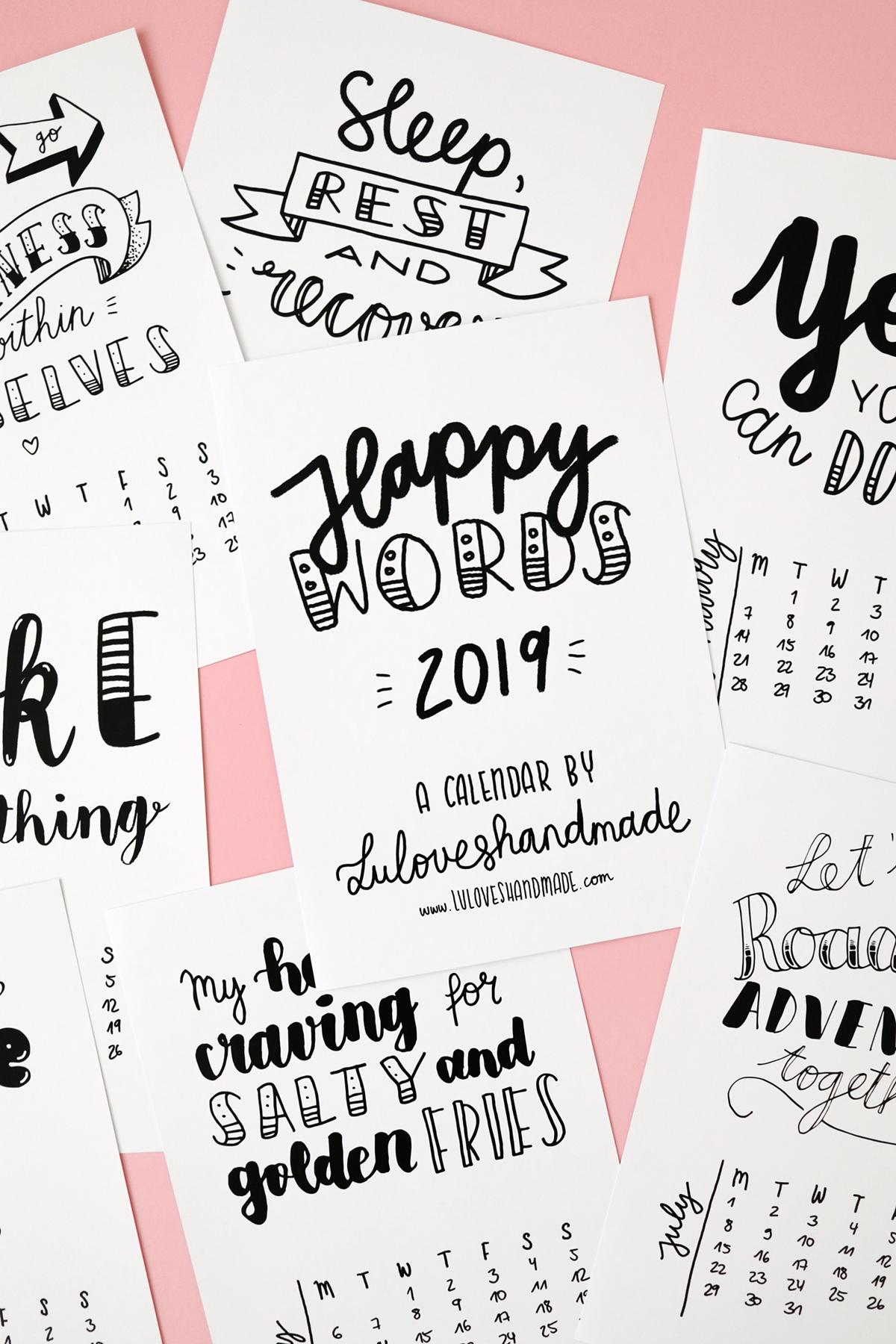 free printable  handlettering calendar 2019