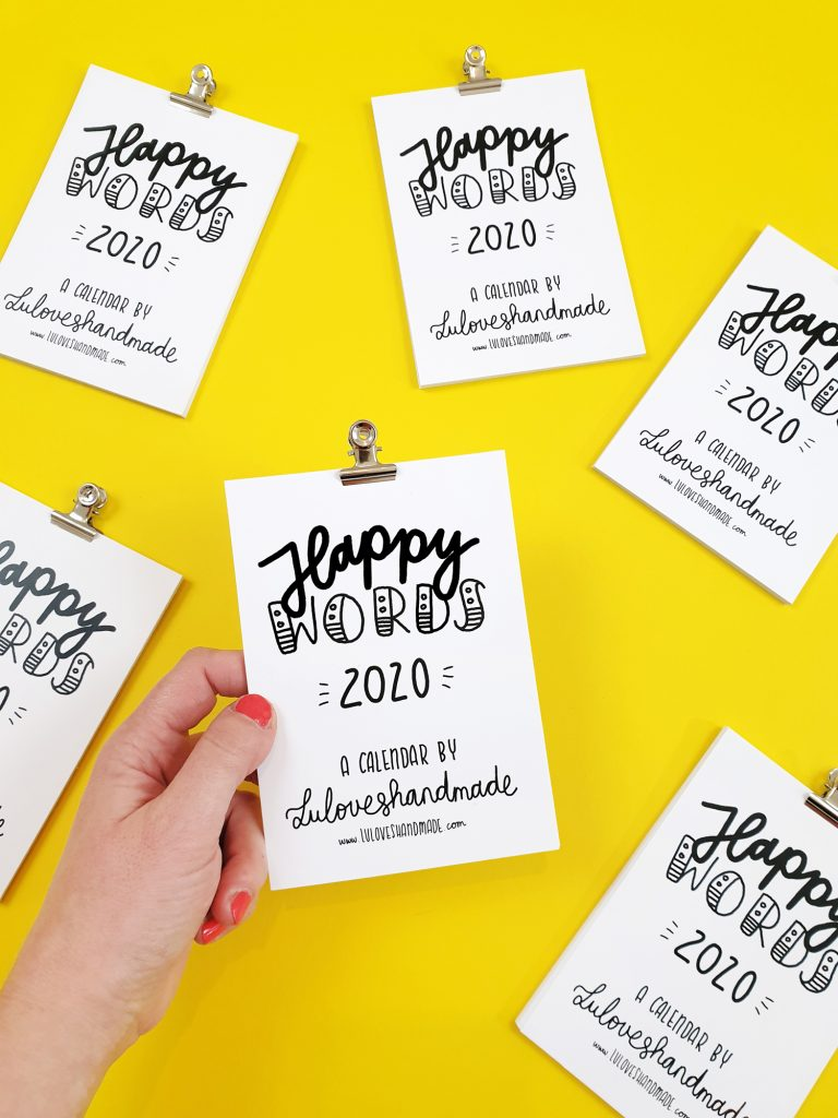 Happy Words - Free Handlettering Calendar Printable 2020