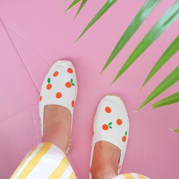 Luloveshandmade-DIY-Espadrilles-with-Orange-Pattern-Pilot-PINTOR-Pens-1
